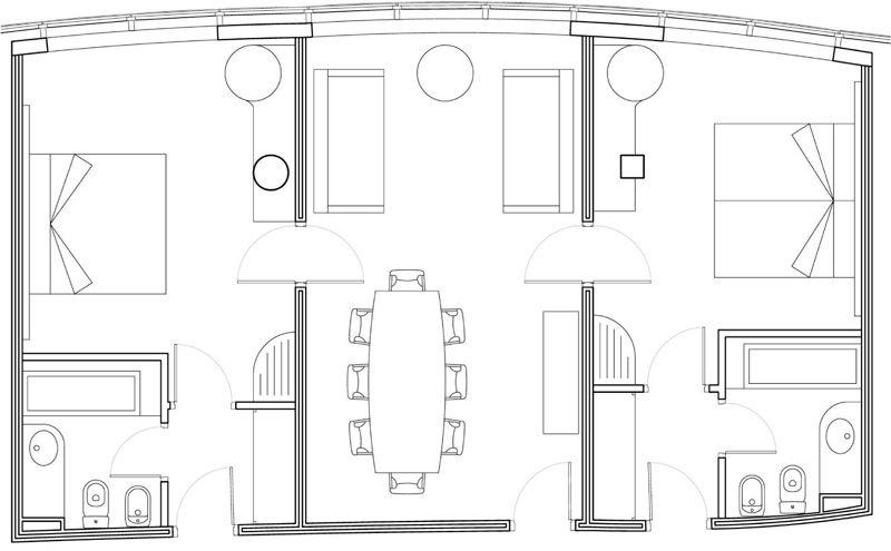Suite con mesa de reuniones en girona hotel carlemany for Plano habitacion online